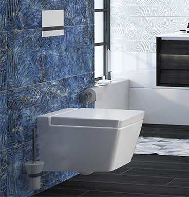 VitrA toilet against blue patterned Metamarmo tiles