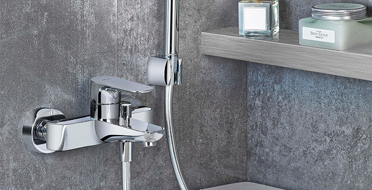 Close up of VitrA X-Line shower valve with hand shower