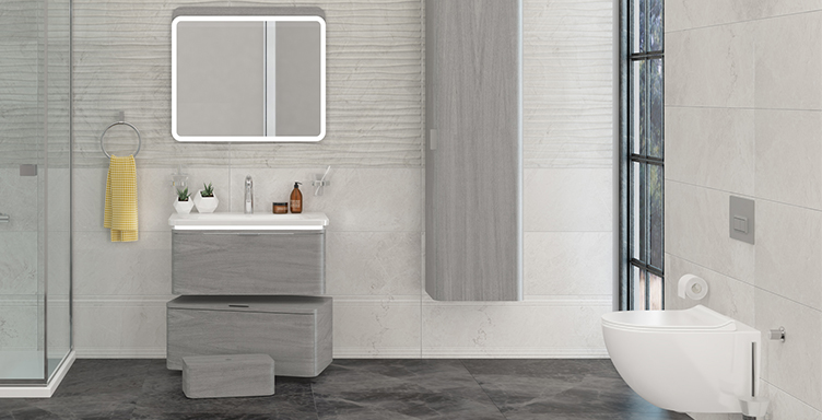 VitrA Nest bathroom setting with vanity basin, toilet and furniture