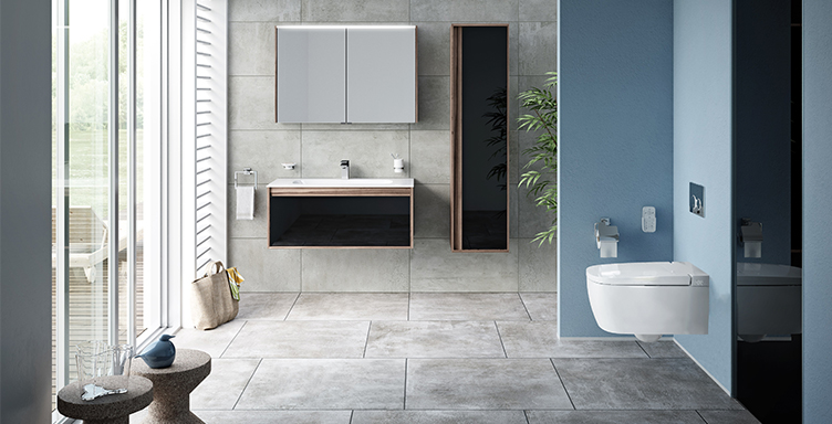 Bathroom setting showing VitrA V-Care shower toilet