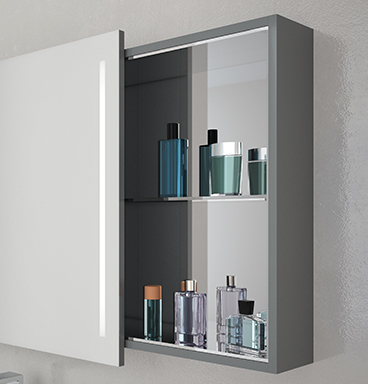 VitrA Memoria mirror cabinet with compartments pulled out to show toiletries