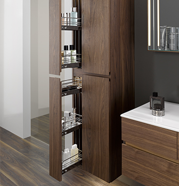 VitrA Memoria tall cabinet with drawer pulled open to show toiletries