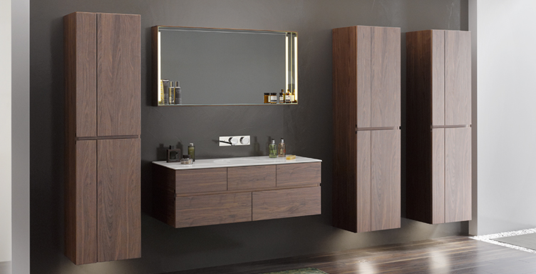 Bathroom setting with VitrA Memoria products including tall cabinets and vanity unit