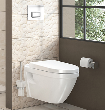 VitrA S50 wall-hung toilet and flush plate