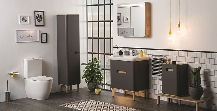 Bathroom setting with VitrA Sento products including toilet, vanity unit and furniture