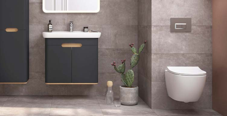 Bathroom setting with VitrA Sento products including wall-hung toilet and vanity unit
