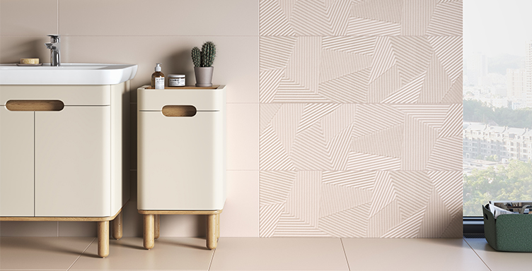 VitrA Sento vanity unit and furniture against pink tile background