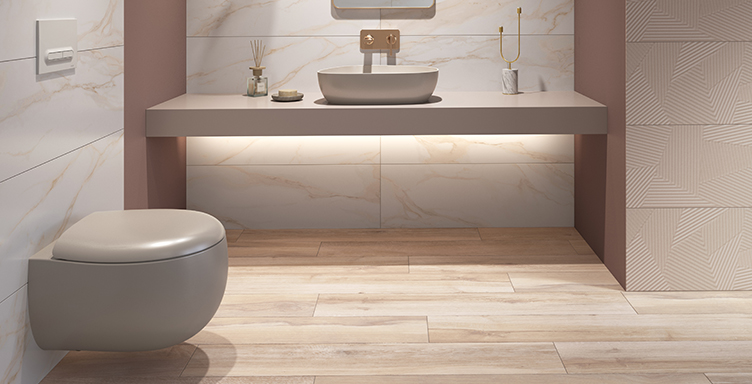 Modern bathroom setting with VitrA Memoria wall-hung WC and basin