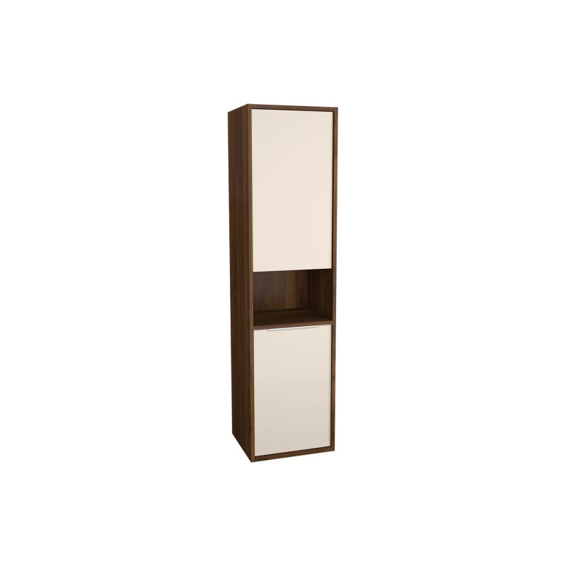 Integra Tall Unit Cashmere/Metallic Walnut, 40 cm, with Laundry Basket, Left-Hand Hinged