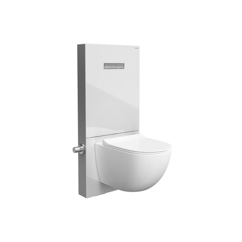 Vitrus Glass Concealed Cistern With integrated bidet stop valve, for wall-hung WCs, 2.5/4 litre, white with chrome sides
